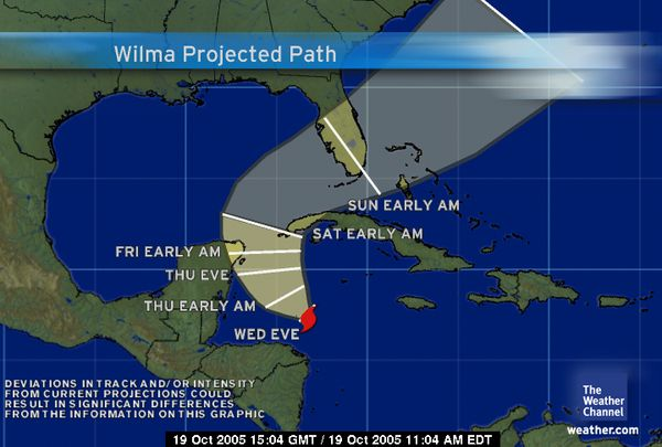 Wilma Path Oct 19, 2005